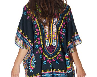 African Inspired Dashiki Beach Boho Kimono, Swim suit Cover Up