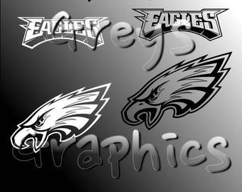 Philadelphia Eagles Primary Logo with Logotype Single Color - SVG - DXF - EPS - Vectors