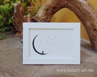 Framed Pebbleart | Sea Glass home decoration | romantic moon