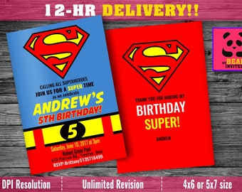 Superhero invitation with FREE Thank you card! FAST customization, superhero birthday invitation, superman invitation, avengers