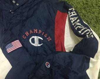 Vintage Champion long jacket pullover spellout big logo embroidery/chsmpion product/sportwear/hip hop