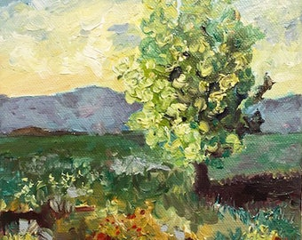 Tree in Field II, oil painting, by CJ Swanson