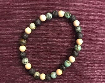 African Turquoise, Lava Stone, and Wood Bracelet