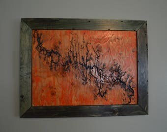 Lichtenberg Figure, Fractal Art, Orange Lightning Wall Decor