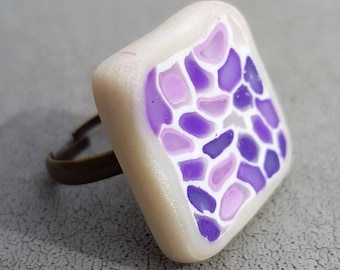 Purple mosaic square ring polymer clay