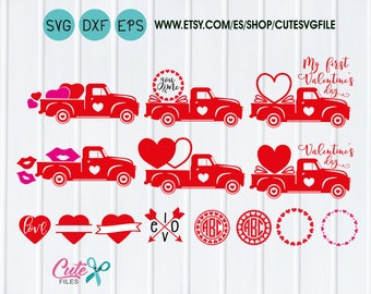 My first valentine's day, Boys valentine svg, truck svg, Circle Monogram Frames, kiss Heart love, happy valentine's day, you and me cut file