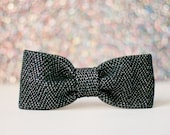 Black Sparkle Knit Dog Bow-Tie, Slip on bowtie for dogs, New Years Eve, Metallic Herringbone Formal bowtie, gift for dogs, dog collar bow
