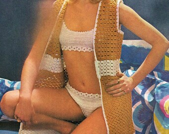 Beach Cover And Bikini, Crochet Pattern. Instant Download.
