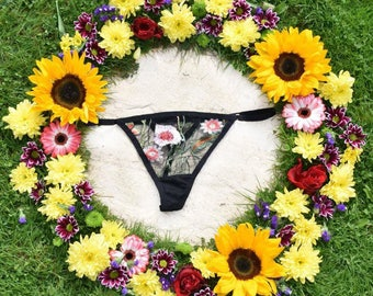 G-string-Black, embroidered, knicker, panty, briefs, lingerie, underwear, floral, flower, boho, bohemian, undies, skivvies