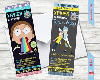 Rick and Morty Birthday Invitation, Rick & Morty Invitation, Ticket Party Invitations, Printable Party Invite, Custom Birthday Party