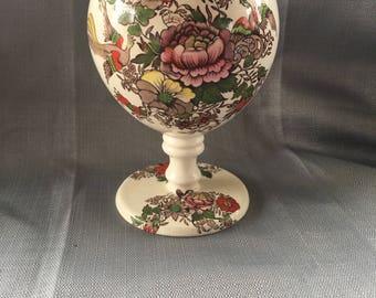 Maling Newcastle on Tyne -England Ball Vase - Rose & Birds on Ivory