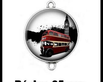 Connector silver 25 mm cabochon dome resin - London street (182)