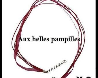 2 necklaces Organza color fuschia 43.2 cm