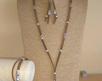 Necklace, earring and bracelet set.