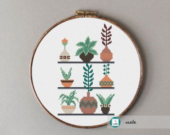 Flowers in pots, modern cross stitch pattern, PDF, instant download