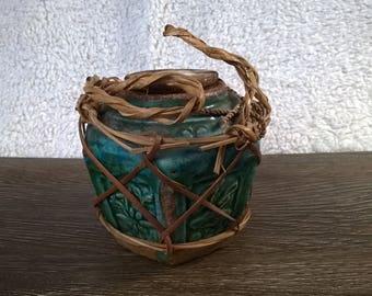 Vintage Wooden Green Ceramic Snuff Box / Jar