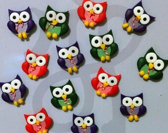 Refrigerator magnets with Christmas owls