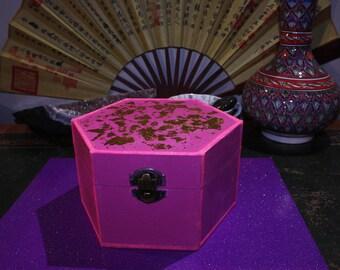 Pink Gilded Gold Leaf Trinket Box Tourmaline Quartz Gift Set