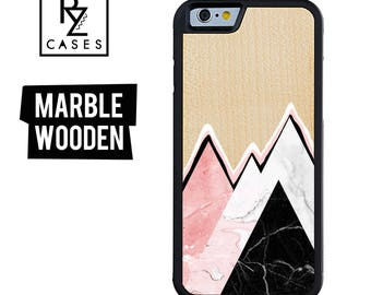 Wooden Phone Case, Marble Phone Case, Wooden Marble Case, Gift For Her, Wooden Marble, Marble, iPhone 7 Case, iPhone 6 Case, 7 Plus, 6 plus
