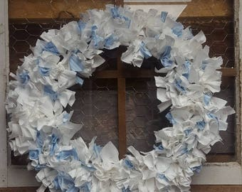 Vintage Blue and White Fabric Wreath