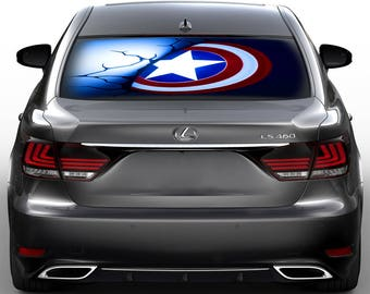 Superhero Shield Perforated Vinyl Decal Rear Window Car, See thru gc3301