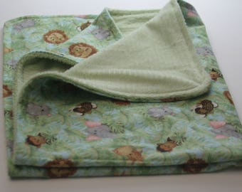 Jungle Animal Furry Fleece and Flannel Blanket and Flannel Bib Set