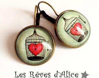 "Earrings grey ""love and lock"" key, Valentine's day, round cabochon and brass jewelry"