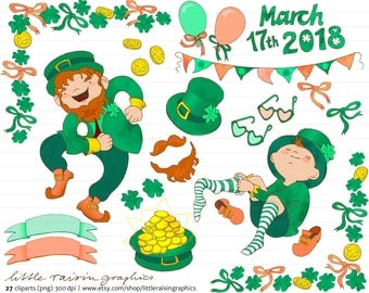 Clipart Set Saint Patrick's Day . Shamrock Leprechaun irish Ireland frame pennant moustaches . handdrawn . commercial use