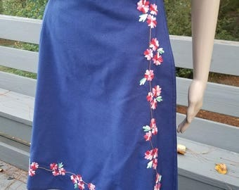 1970s wrap skirt, blue with red and pink flowers