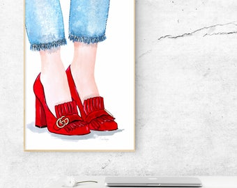 Gucci Marmont Shoe illustration poster red - printable download