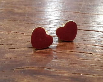 Love heart red and gold stud earrings / heart stud earrings / heart jewellery / bridesmaid gift / anniversary present / hand painted