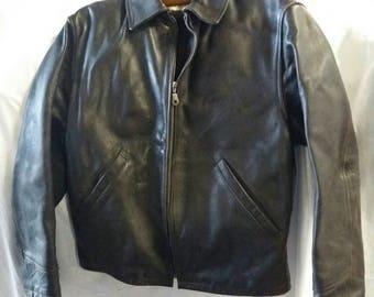 Vintage black leather jacket made in Italy. Size M (48) Gothic, metal, dark, industrial, seventies bikers.
