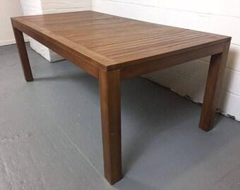 New Rectangular Teak Dining Table W/ 8 Teak Wood Folding Chairs