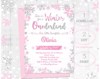 Winter Onederland Birthday Invitation, Pink and Silver, Girl Snowflake invite, Winter wonderland, Instant download, Girl Onederland, 1st