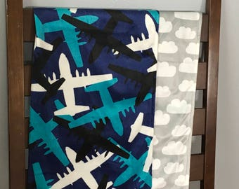 Airplanes among the clouds minky blanket