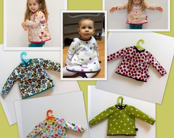 Bib / apron with customizable coated cotton sleeves, closed link in the back
