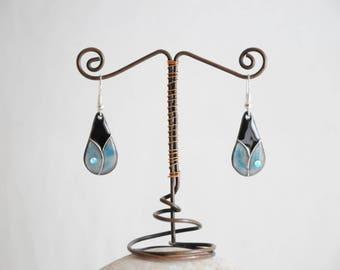 Blue and black cloisonné enamel earrings