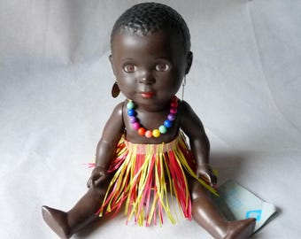 Wumbi Black Doll Replica by Schildkrot Germany Puppe Vintage
