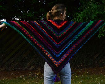 GaiaForestChildren Womens quality reversible elegant crochet acrylic shawl/scarf,warm,cosy,autumn/winter,colour/black,gift,Lost In Time