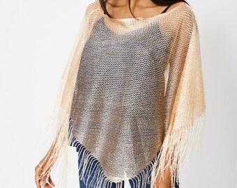 Fringe Glittery Pullover Scarf