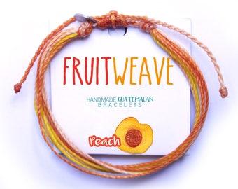 PEACH STRING BRACELET, Guatemalan Bracelets, Handmade bracelets, colorful bracelets, fruit based, fruit weave, friendship bracelets.