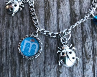 Personalized Bracelet, Ladybug Jewelry, Bracelets for Women, Ladybug Bracelet, Letter Bracelet, Letter Jewelry, Stainless Steel Bracelet