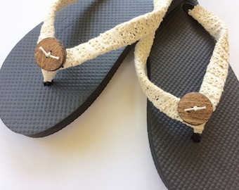 Lace Flip Flop, Coconut Shell Flip Flop, Decorative Flip Flop, Bridal Flip Flops, Wedding Sandals