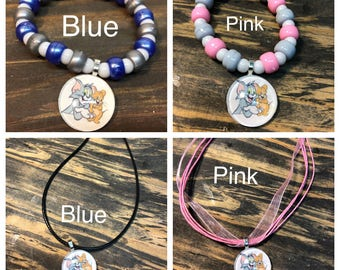 Tom and jerry party favors.Tom and jerry pendant necklace.Tom and jerry bead bracelet.Tom and jerry jewelry set.Tom and Jerry.