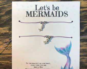 Let's be mermaids wish bracelet.Mermaid wish bracelet .Mermaid charm bracelet.Friendship bracelets.Best friends mermaid bracelets