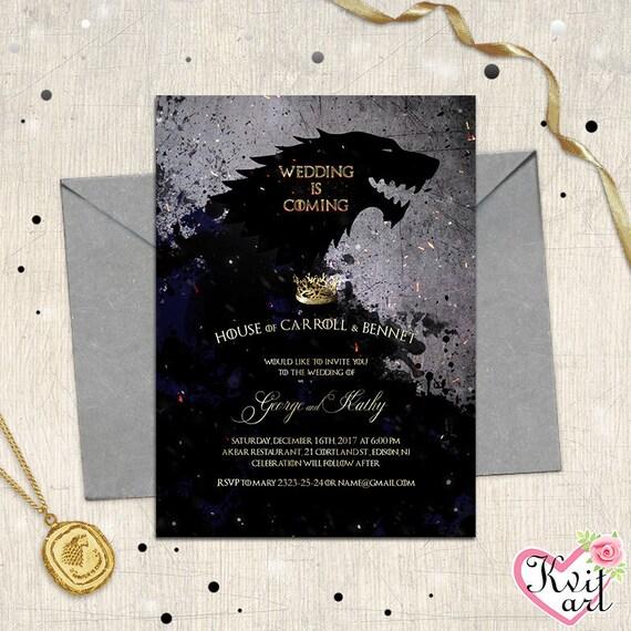 Wedding is coming invitation game of thrones movie themed like this item stopboris Choice Image