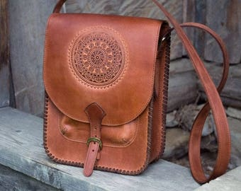 Leather bag women/Brown leather women bag/ethno style/geniune leather/women cross body bag/everyday handbag