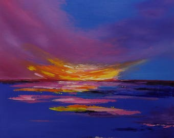 Violet Lights - 50 х 50cm, original abstract seascape oil painting in blue and pink colors (2018)