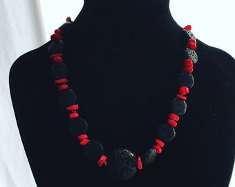 Coral and lava necklace No.1