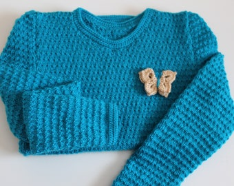 Handmade knitted sweater for girls: turquoise Blue